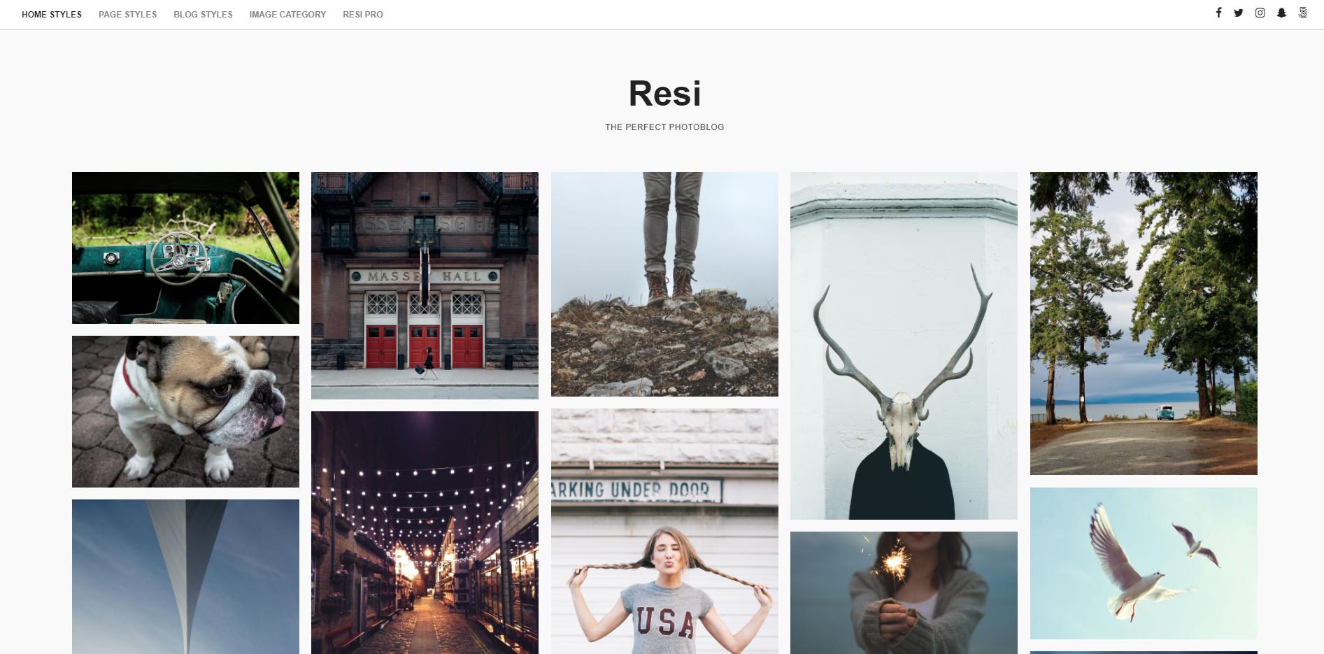 图片博客WordPress主题:ResiWordPress博客主题图片
