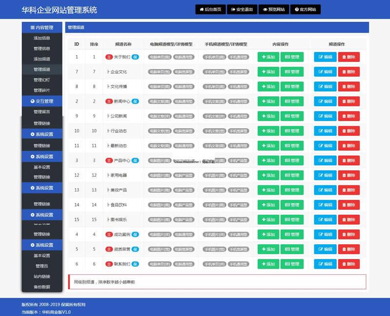 华科网络内容管理系统 v5.6 手机 PC网站源码图片